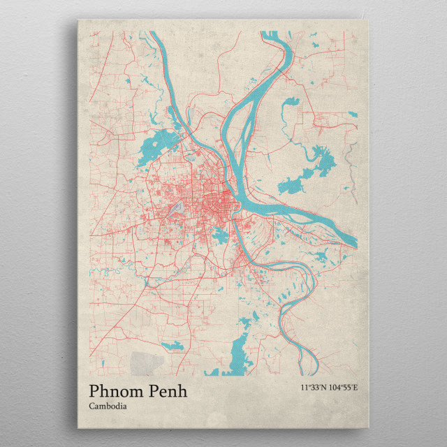 Phnom Penh  Cambodia metal poster