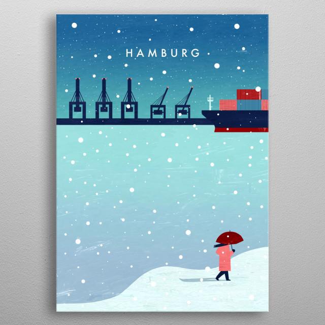 Hamburg in winter metal poster