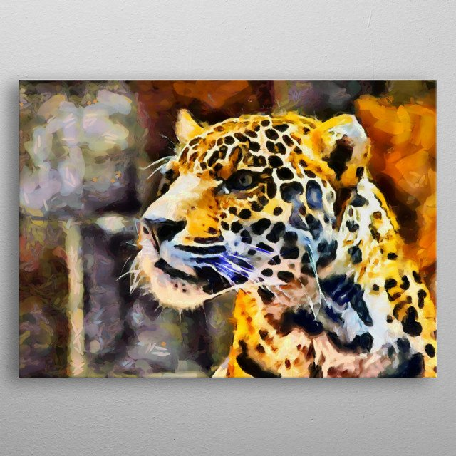 Vivid and bright digital painting of a leopard. metal poster
