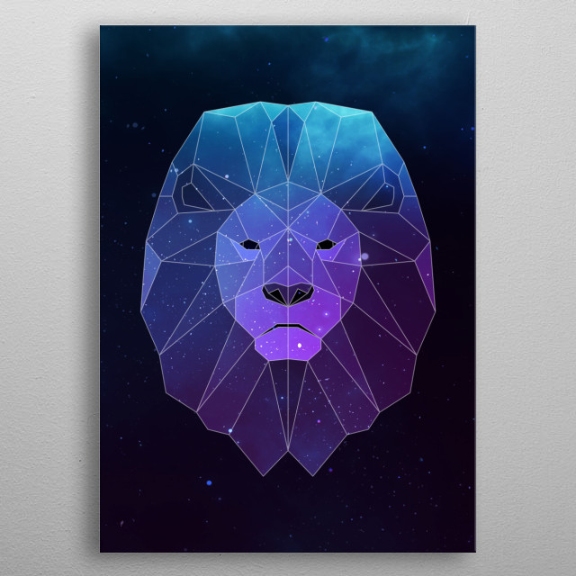 Galaxy lion geometric animal face is a combination of low poly and double exposure art of an animal and galaxy image. metal poster