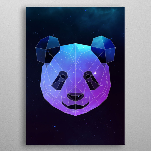 Galaxy panda geometric animal face is a combination of low poly and double exposure art of an animal and galaxy image. metal poster