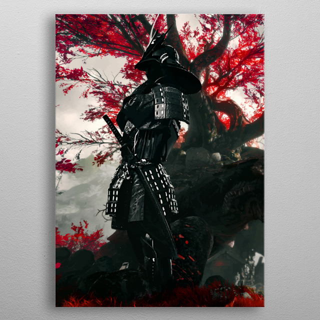 Samurai Red Flower is an Artwork of a classic japan samurai for exquisite decor metal poster