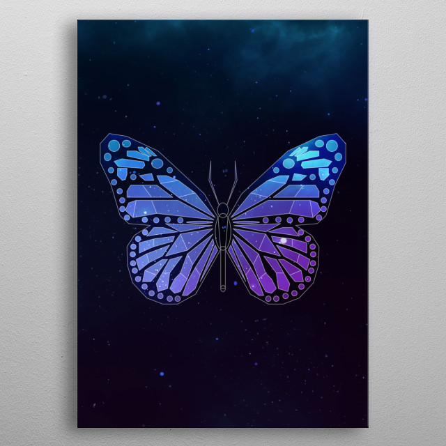 Galaxy butterfly geometric animal face is a combination of low poly and double exposure art of an animal and galaxy image. metal poster