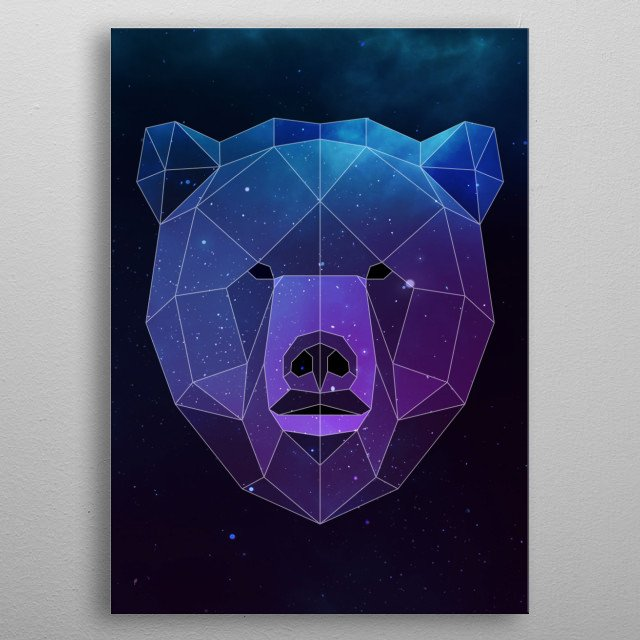 Galaxy bear geometric animal face is a combination of low poly and double exposure art of an animal and galaxy image. metal poster