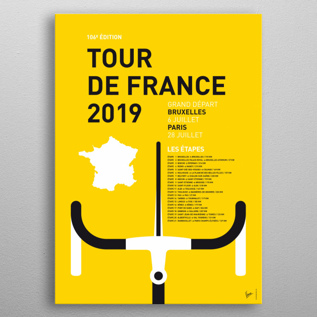 """""""If you brake, you don't win."""" - Mario Cipollini  These are the 2019 editions of chungkongs minimal Pro Cycling Posters. metal poster"""