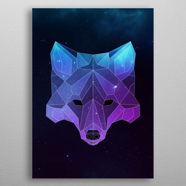 Galaxy fox geometric animal face is a combination of low poly and double exposure art of an animal and galaxy image. metal poster
