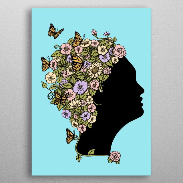 Floral woman. Inspired by the power of woman, and the beautiful of the flowers. Perfect for natural and floral lovers. metal poster