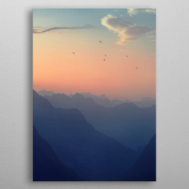 View of the Swiss Alps neat the San Gottardo pass on a misty Summer morning at sunrise metal poster