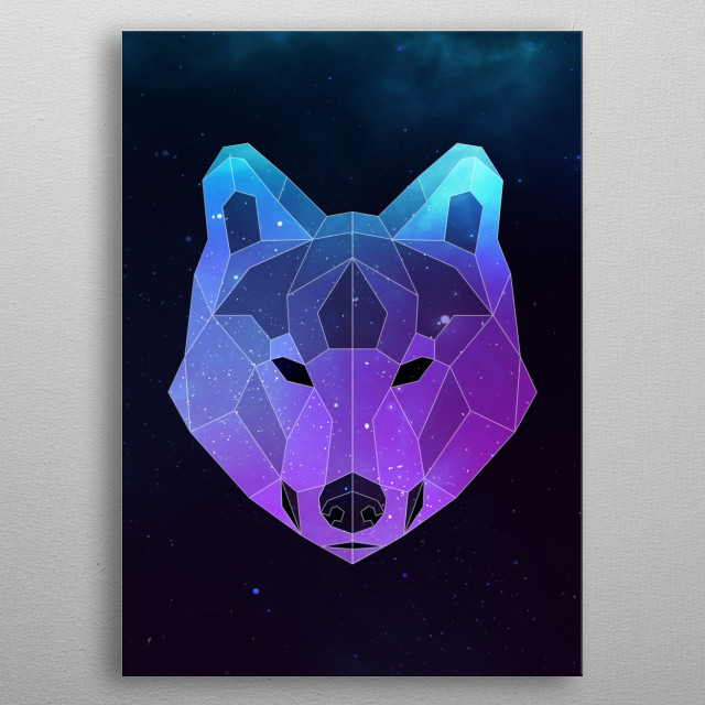 Galaxy wolf geometric animal face is a combination of low poly and double exposure art of an animal and galaxy image. metal poster