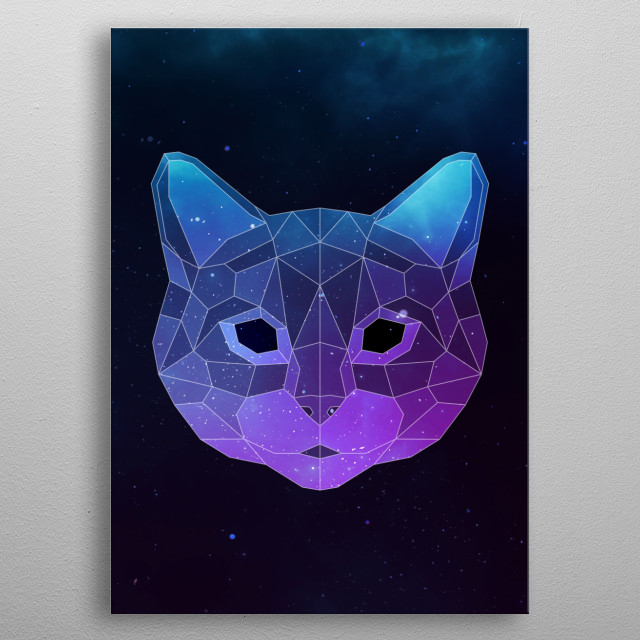 Galaxy cat geometric animal face is a combination of low poly and double exposure art of an animal and galaxy image. metal poster