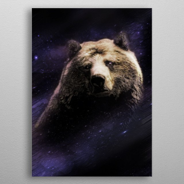 Brown bear, with a hint of the Big Dipper. metal poster