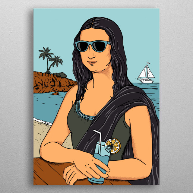 Mona Lisa summer. Inspired by the nature, summer and beach.  metal poster