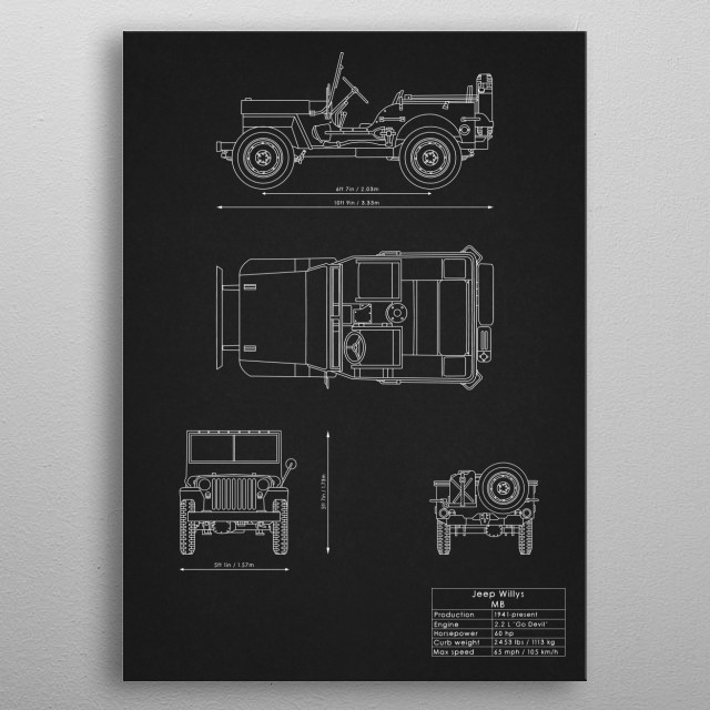 Jeep Willys MB metal poster