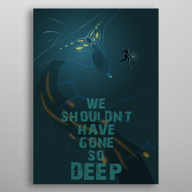 Illustration depicting the tragic outcome of the Degasi Crew from the game Subnautica, inspired by the voice log of Bart. metal poster