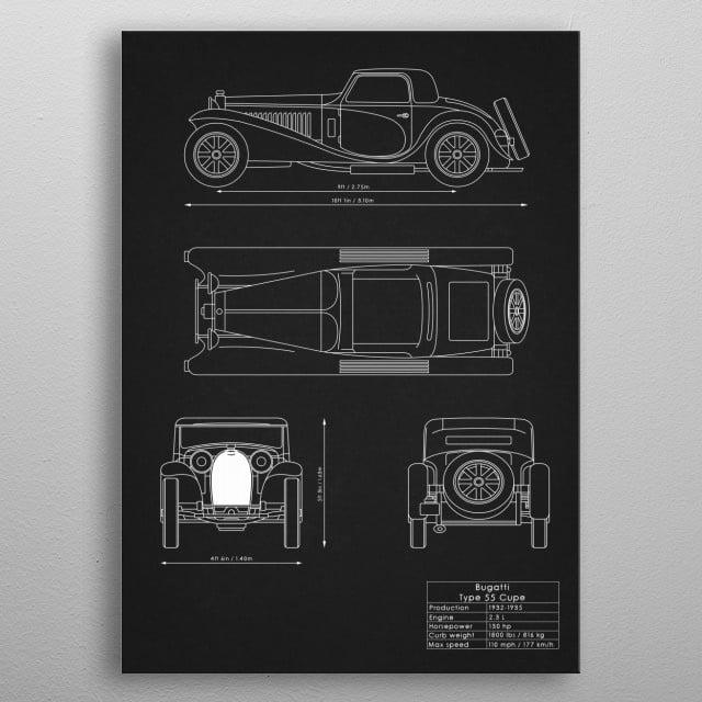 Bugatti Type 55 Coupe metal poster