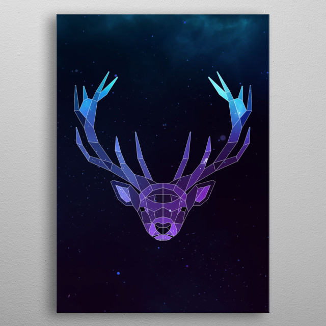 Galaxy deer geometric animal face is a combination of low poly and double exposure art of an animal and galaxy image. metal poster