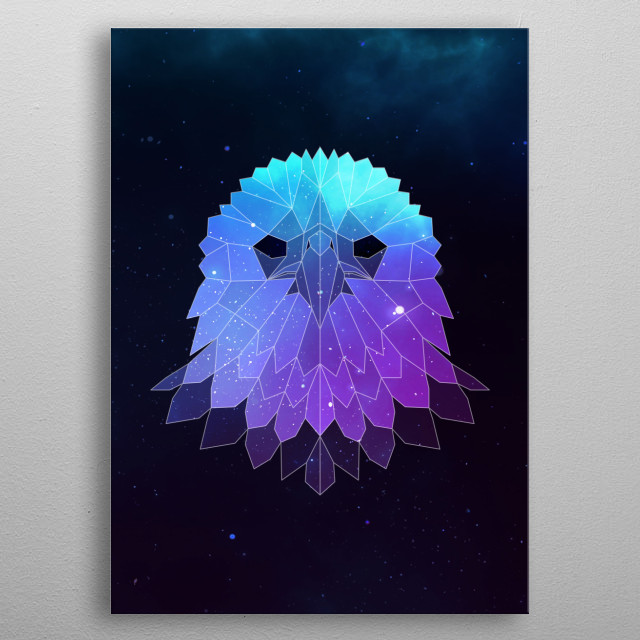 Galaxy eagle geometric animal face is a combination of low poly and double exposure art of an animal and galaxy image. metal poster
