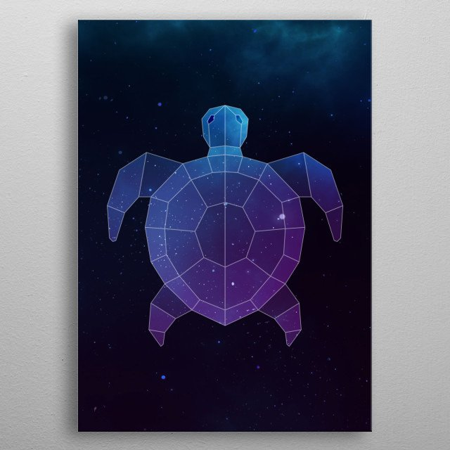 Galaxy sea turtle geometric animal face is a combination of low poly and double exposure art of an animal and galaxy image. metal poster