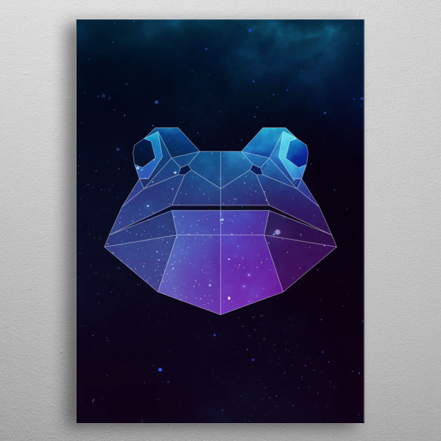 Galaxy frog geometric animal face is a combination of low poly and double exposure art of an animal and galaxy image. metal poster