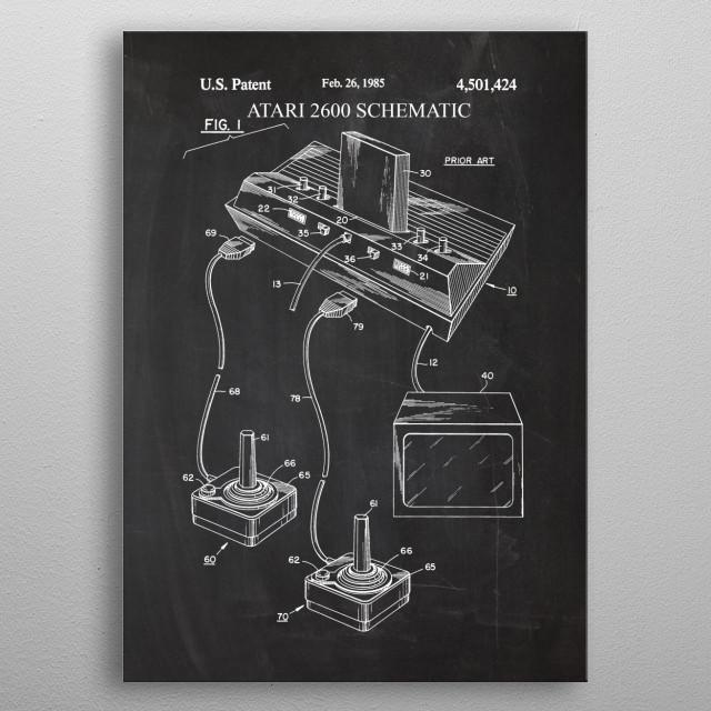 Atari 2600 Schematic - Patent Drawing metal poster
