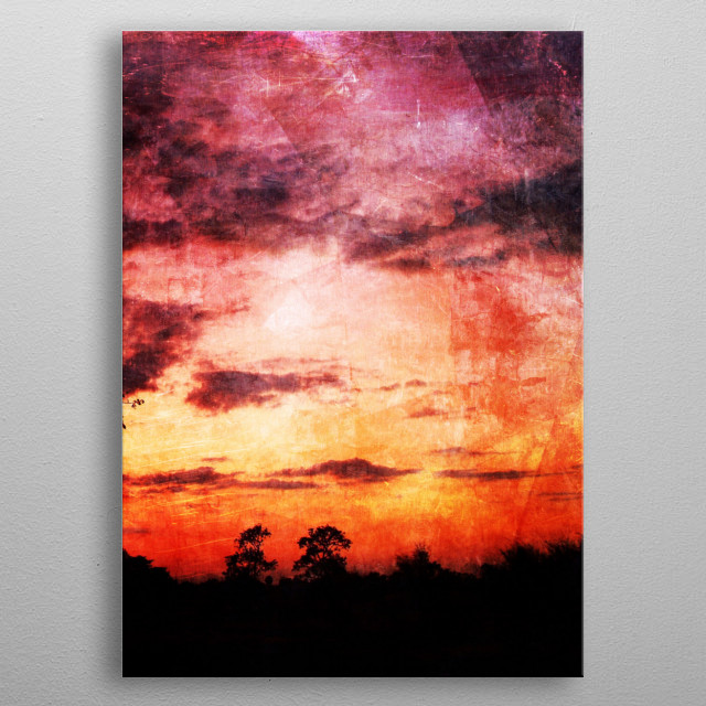 Sunset landscape metal poster