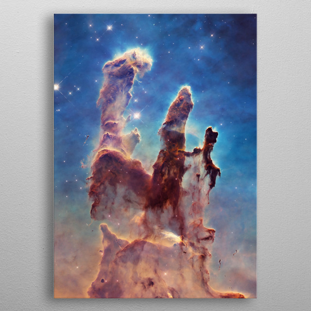 Legendary data taken by the Hubble Space Telescope of elephant trunks of interstellar dust in the Eagle Nebula. Composite image by Jesion. metal poster