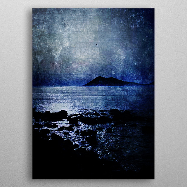 Nocturnal textured seasight metal poster