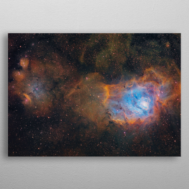 The Lagoon Nebula is a giant interstellar cloud in the constellation Sagittarius. metal poster