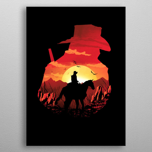 Red Sunset metal poster