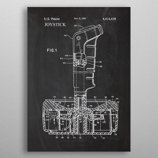 Joystick Video Game Controller - Patent Drawing metal poster