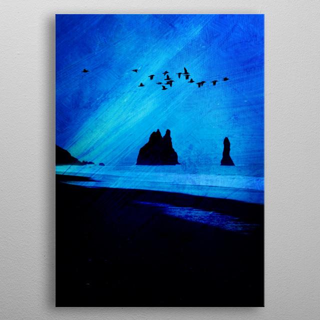 Nocturnal coastal landscape metal poster