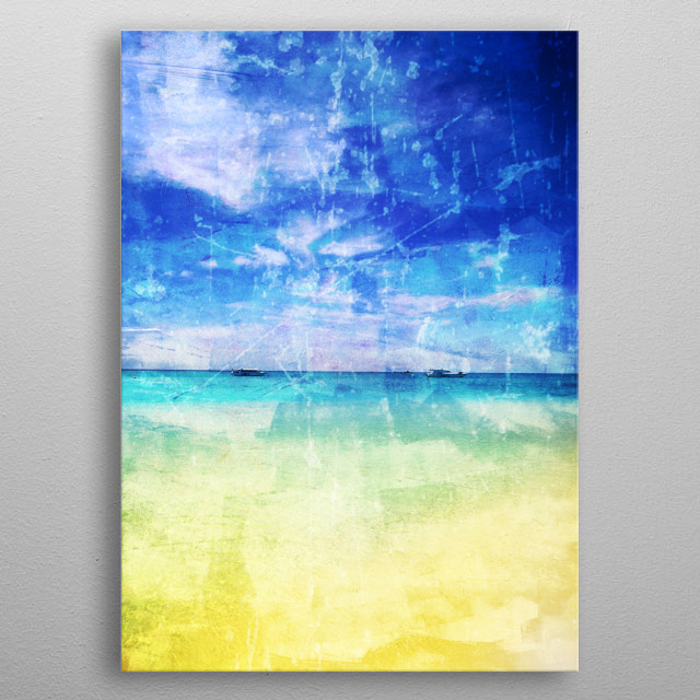Beach textured photography metal poster