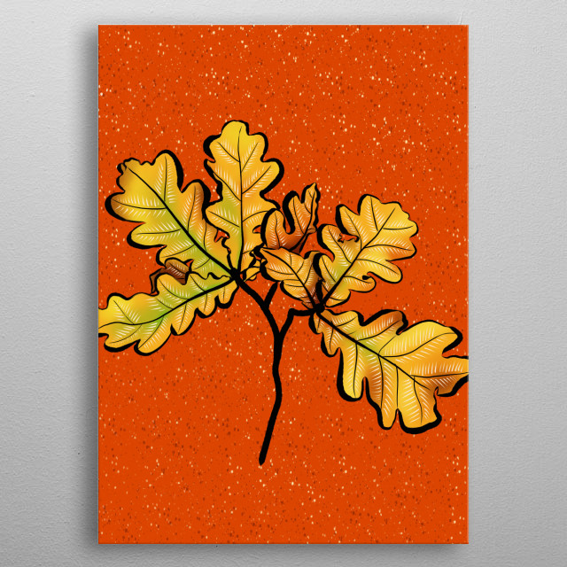 Oak leaves digital art featuring a decorative botanical illustration of autumnal leaves in yellow, brown and green over vibrant orange speck metal poster