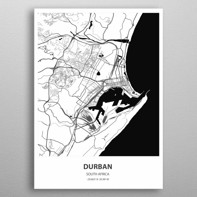 Durban, a coastal city in eastern South Africa's KwaZulu-Natal province, is known for its African, Indian and colonial influences.  metal poster