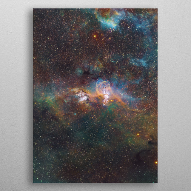 NGC 3576 is a minor nebula in the Sagittarius arm of the galaxy a few thousand light-years away from the Eta Carinae nebula. metal poster