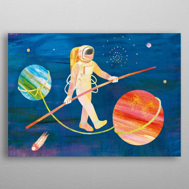 Astronaut tightrope walking between two planets in space surrounded with stars and comet metal poster