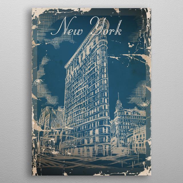 Vintage postcards presenting New York City metal poster