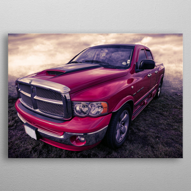 A stunning red truck given the digital art treatment metal poster