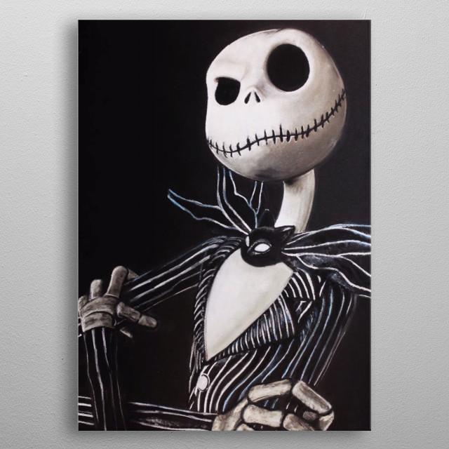 Illustration of Jack Skellington metal poster