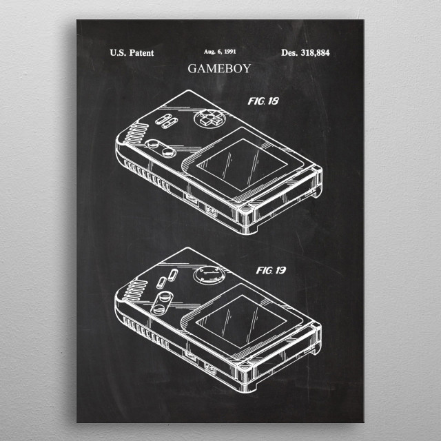 1991 Gameboy - Patent Drawing metal poster