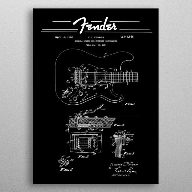 Fender Strat Gutar- Tremolo Patent Diagram - Rock - Blues - Music -blueprint metal poster