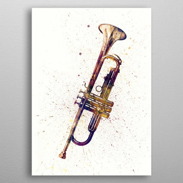 An abstract watercolor print of a Trumpet metal poster