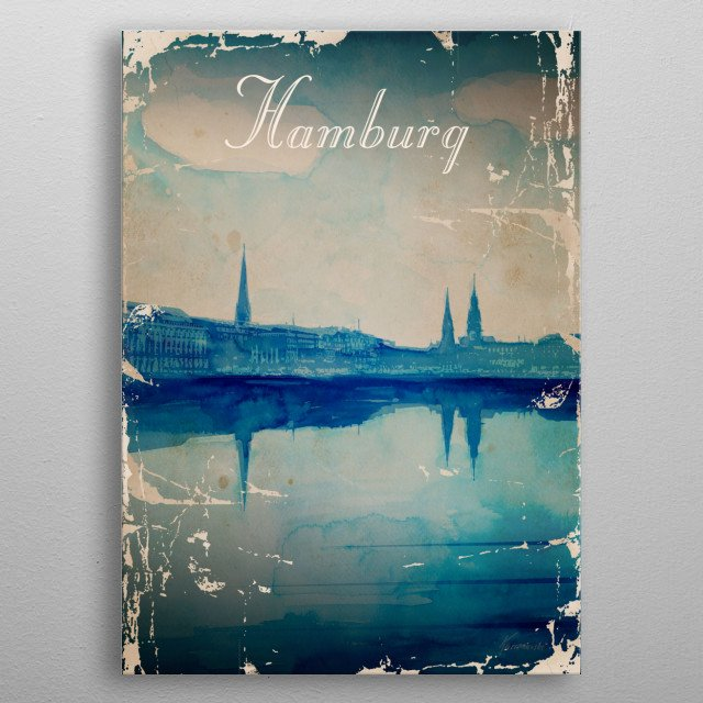 Vintage poster presenting Hamburg in Germany metal poster