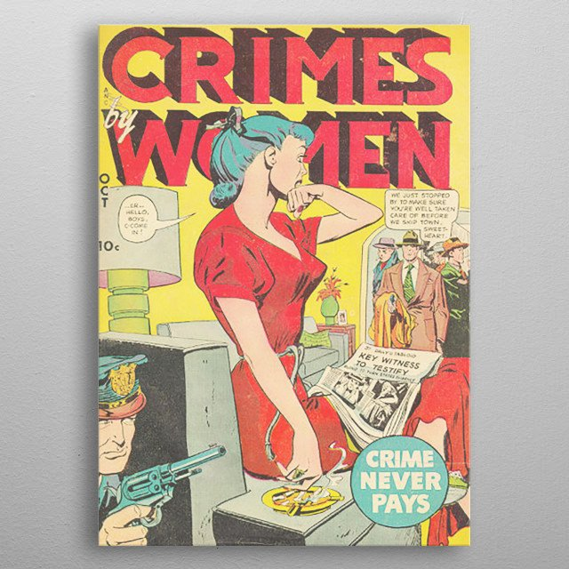 Crimes by Woman comic book cover metal poster