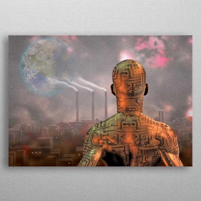 Android before smog filled city with tearraformed moon in sky metal poster