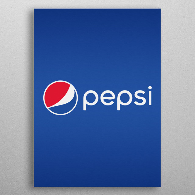 Metallic brushed Pepsi Cola graphic with a deep Pepsi blue colour. Akin to the aluminium tin cans used in the fizzy / soft drinks. metal poster