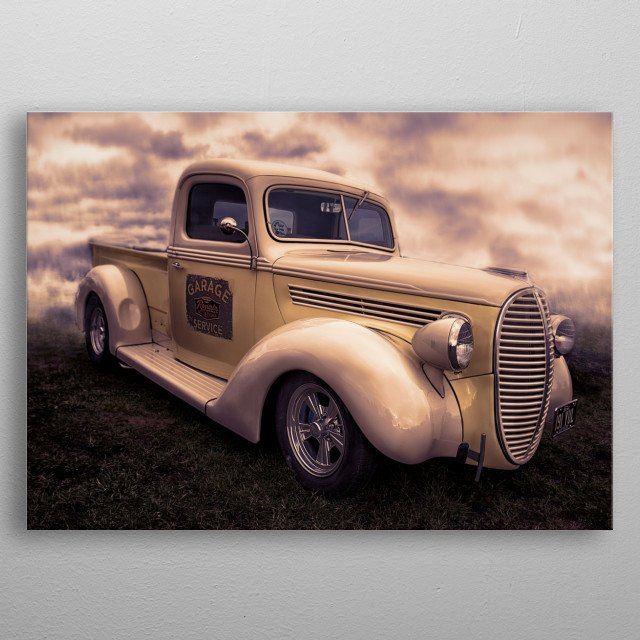 A beatuful piece of classic americana in the form of this old Ford Pickup truck. metal poster