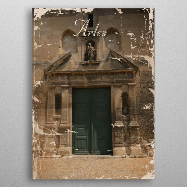 Vintage poster presenting Arles metal poster