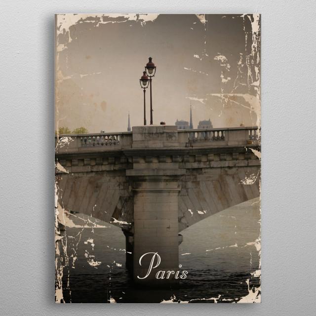 Vintage poster presenting Paris metal poster