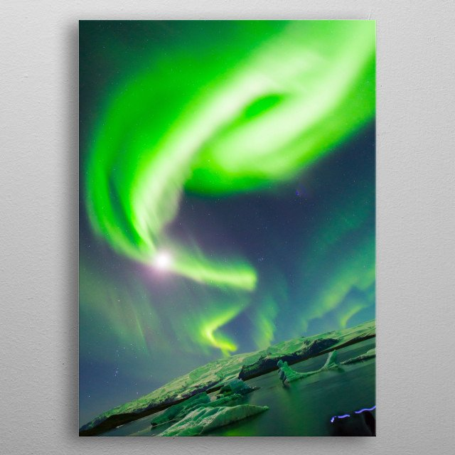 Bright green swirl of Aurora Borealis in the arctic sky. metal poster
